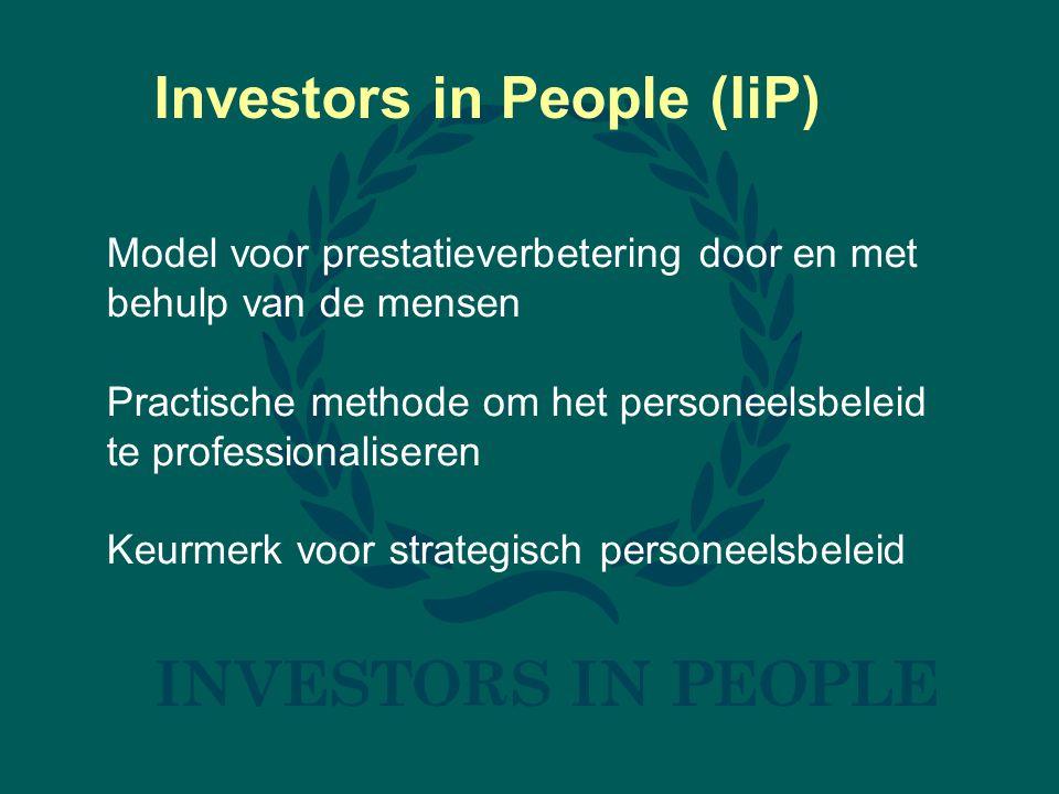 Investors in People (IiP) Model voor prestatieverbetering door en met behulp van de mensen Practische methode om het personeelsbeleid te professionaliseren Keurmerk voor strategisch personeelsbeleid
