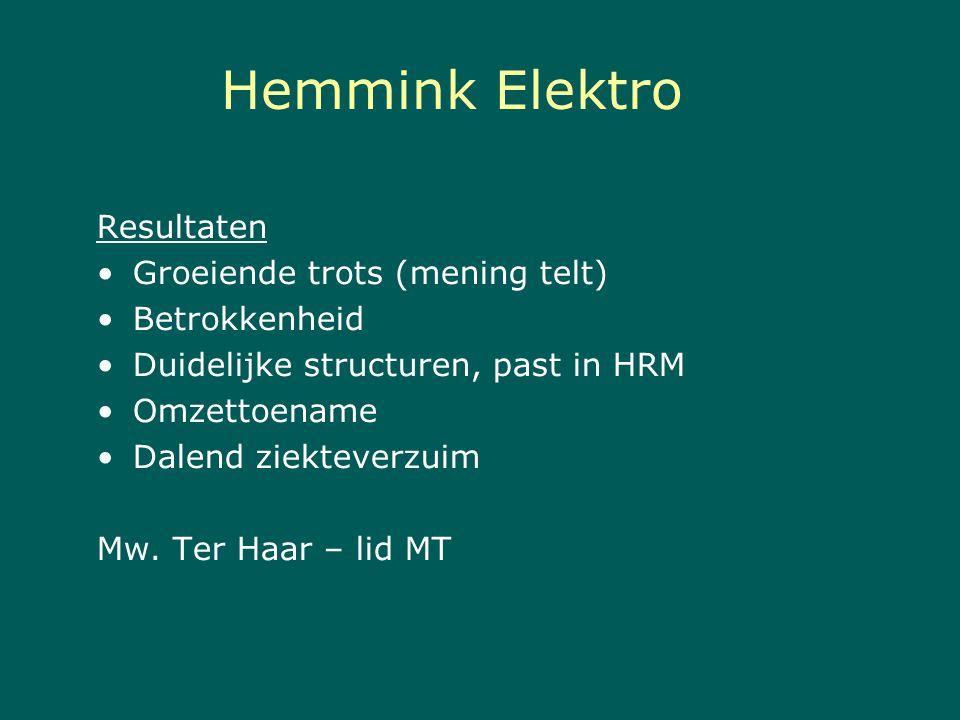 Hemmink Elektro Resultaten Groeiende trots (mening telt) Betrokkenheid Duidelijke structuren, past in HRM Omzettoename Dalend ziekteverzuim Mw. Ter Ha