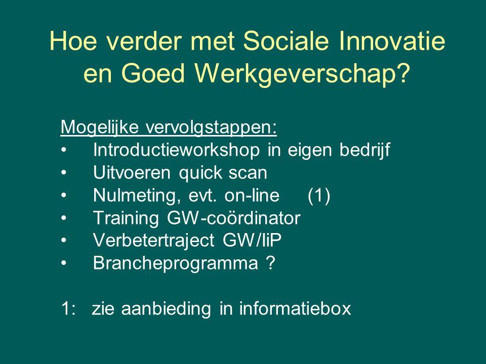 Hoe verder met Sociale Innovatie en Goed Werkgeverschap? Mogelijke vervolgstappen: Introductieworkshop in eigen bedrijf Uitvoeren quick scan Nulmeting