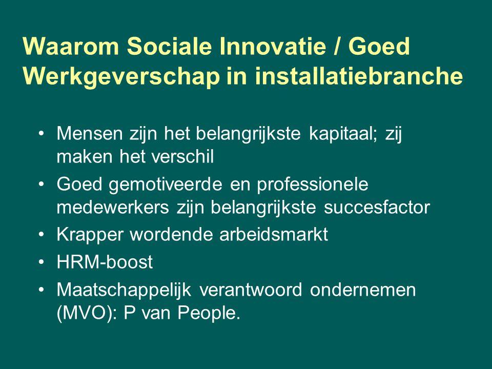 Waarom Sociale Innovatie / Goed Werkgeverschap in installatiebranche Mensen zijn het belangrijkste kapitaal; zij maken het verschil Goed gemotiveerde