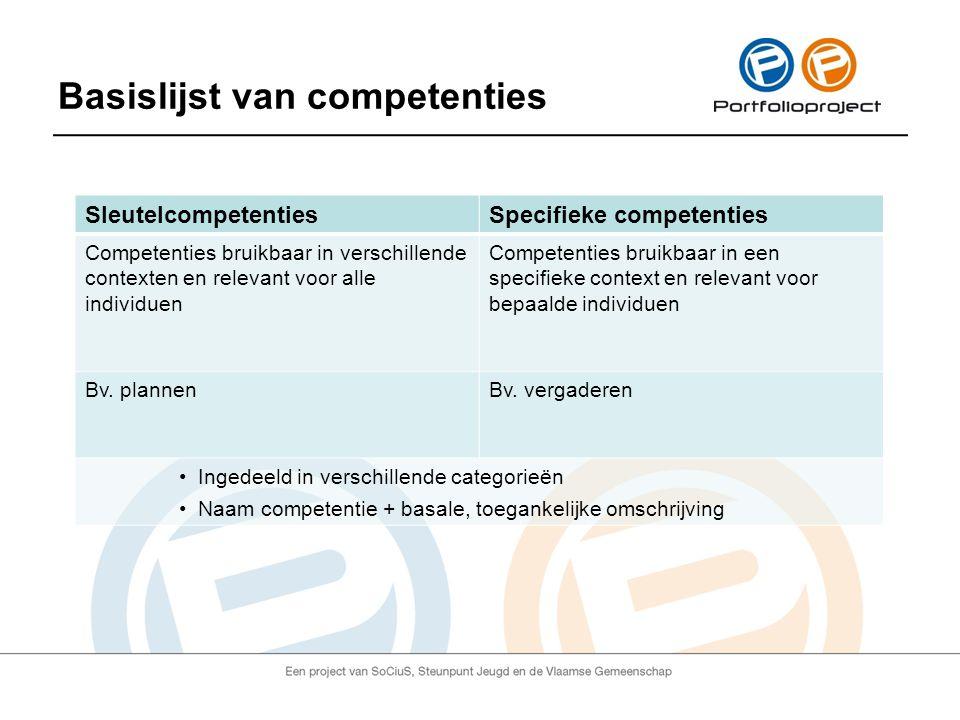 Basislijst van competenties SleutelcompetentiesSpecifieke competenties Competenties bruikbaar in verschillende contexten en relevant voor alle individuen Competenties bruikbaar in een specifieke context en relevant voor bepaalde individuen Bv.