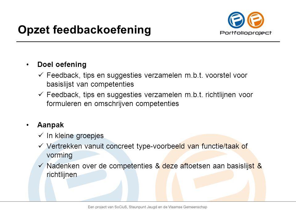 Opzet feedbackoefening Doel oefening Feedback, tips en suggesties verzamelen m.b.t.