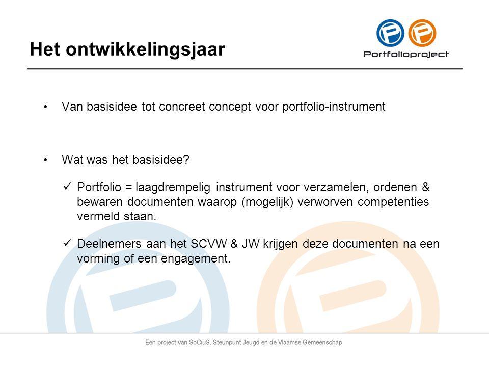 Het ontwikkelingsjaar Van basisidee tot concreet concept voor portfolio-instrument Wat was het basisidee.