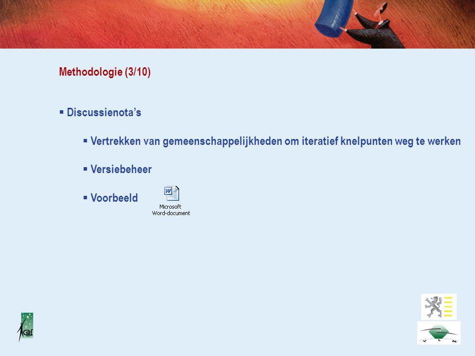 Methodologie (3/10)  Discussienota's  Vertrekken van gemeenschappelijkheden om iteratief knelpunten weg te werken  Versiebeheer  Voorbeeld