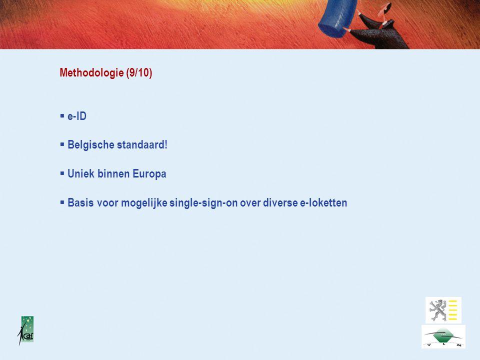 Methodologie (9/10)  e-ID  Belgische standaard.