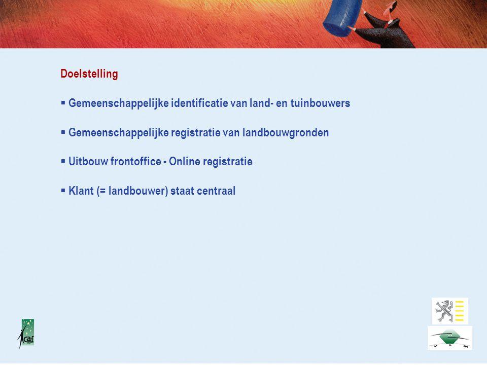 Doelstelling  Gemeenschappelijke identificatie van land- en tuinbouwers  Gemeenschappelijke registratie van landbouwgronden  Uitbouw frontoffice - Online registratie  Klant (= landbouwer) staat centraal