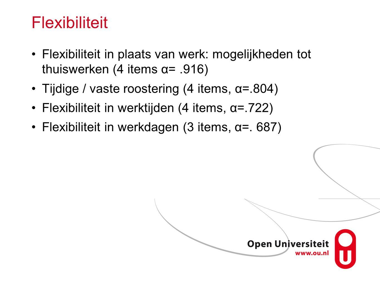 Flexibiliteit Flexibiliteit in plaats van werk: mogelijkheden tot thuiswerken (4 items α=.916) Tijdige / vaste roostering (4 items, α=.804) Flexibilit
