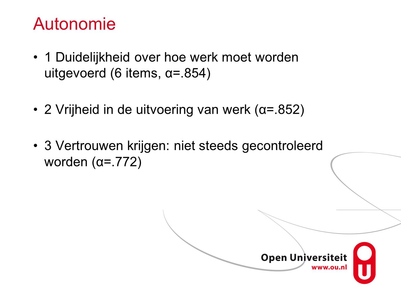 Autonomie 1 Duidelijkheid over hoe werk moet worden uitgevoerd (6 items, α=.854) 2 Vrijheid in de uitvoering van werk (α=.852) 3 Vertrouwen krijgen: n