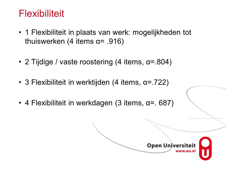 Flexibiliteit 1 Flexibiliteit in plaats van werk: mogelijkheden tot thuiswerken (4 items α=.916) 2 Tijdige / vaste roostering (4 items, α=.804) 3 Flex