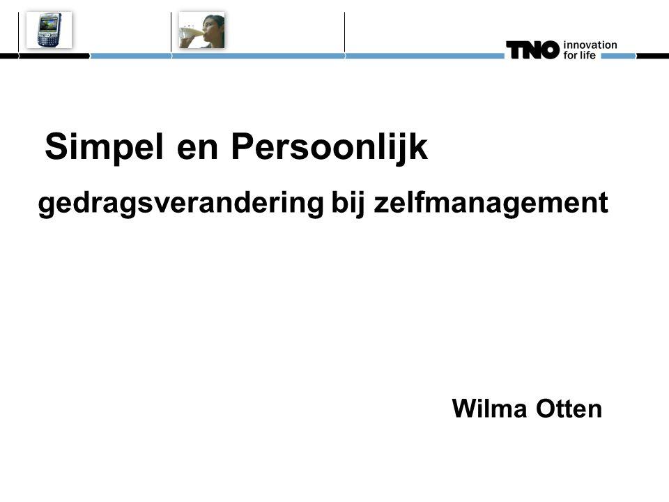 Wilma Otten Simpel en Persoonlijk gedragsverandering bij zelfmanagement