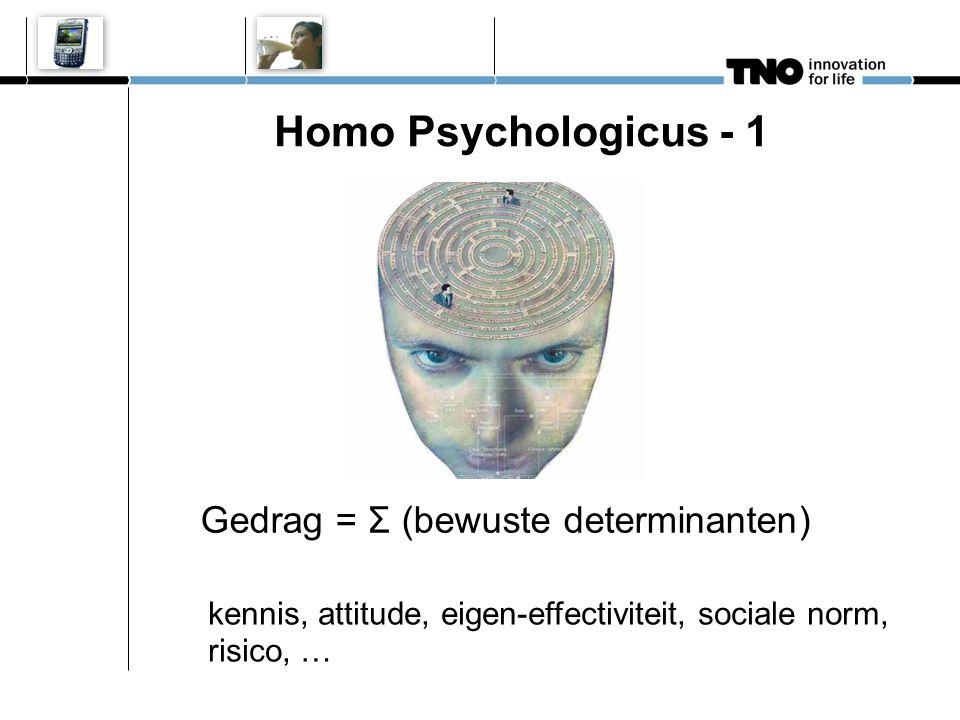 Homo Psychologicus - 1 Gedrag = Σ (bewuste determinanten) kennis, attitude, eigen-effectiviteit, sociale norm, risico, …