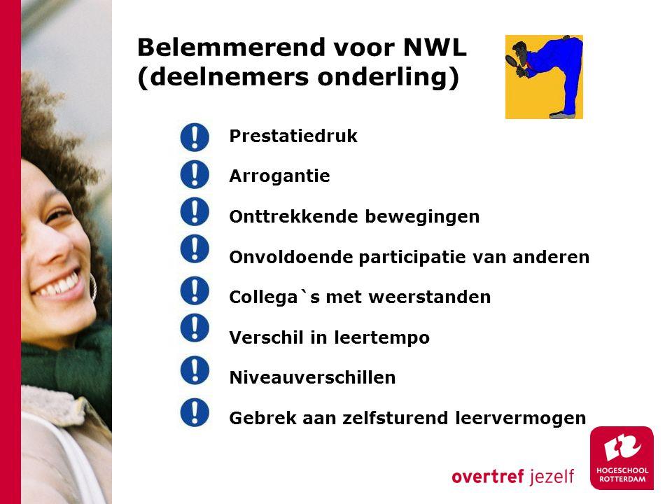 Belemmerend voor NWL (deelnemers onderling) Prestatiedruk Arrogantie Onttrekkende bewegingen Onvoldoende participatie van anderen Collega`s met weerstanden Verschil in leertempo Niveauverschillen Gebrek aan zelfsturend leervermogen