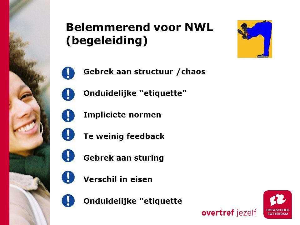 Belemmerend voor NWL (begeleiding) Gebrek aan structuur /chaos Onduidelijke etiquette Impliciete normen Te weinig feedback Gebrek aan sturing Verschil in eisen Onduidelijke etiquette