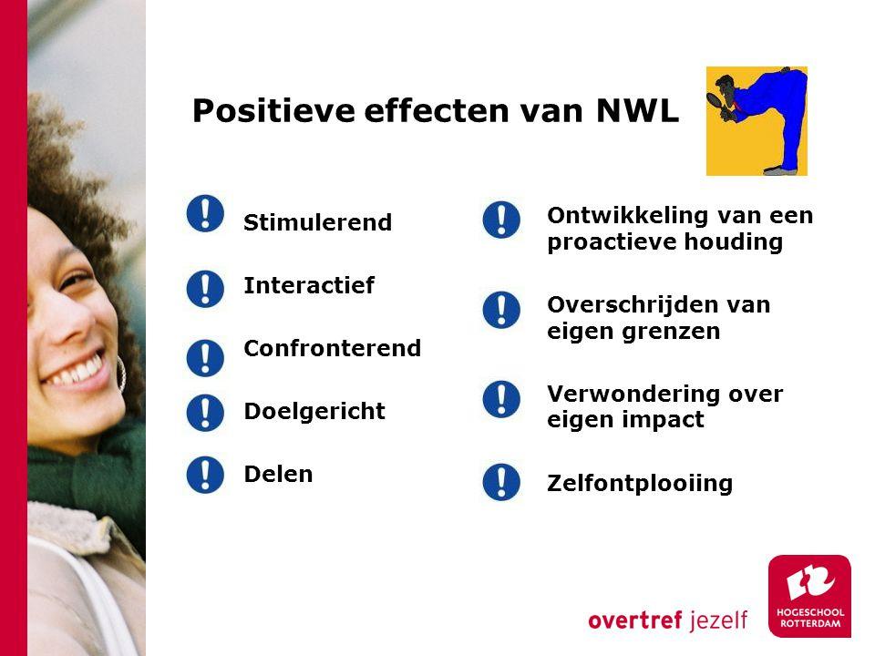 Positieve effecten van NWL Stimulerend Interactief Confronterend Doelgericht Delen Ontwikkeling van een proactieve houding Overschrijden van eigen grenzen Verwondering over eigen impact Zelfontplooiing