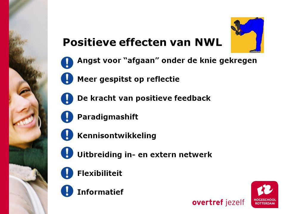 Positieve effecten van NWL Angst voor afgaan onder de knie gekregen Meer gespitst op reflectie De kracht van positieve feedback Paradigmashift Kennisontwikkeling Uitbreiding in- en extern netwerk Flexibiliteit Informatief