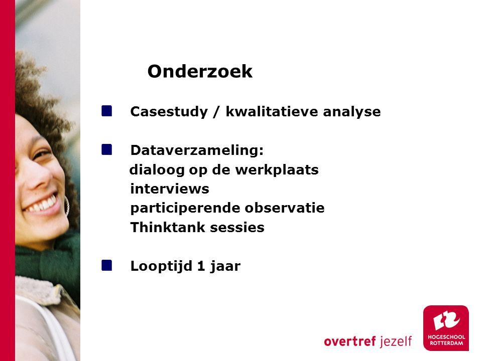 Onderzoek Casestudy / kwalitatieve analyse Dataverzameling: dialoog op de werkplaats interviews participerende observatie Thinktank sessies Looptijd 1 jaar