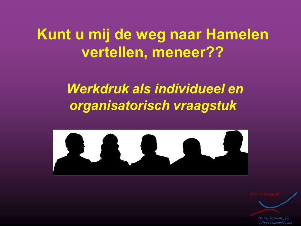 Kunt u mij de weg naar Hamelen vertellen, meneer?? Werkdruk als individueel en organisatorisch vraagstuk
