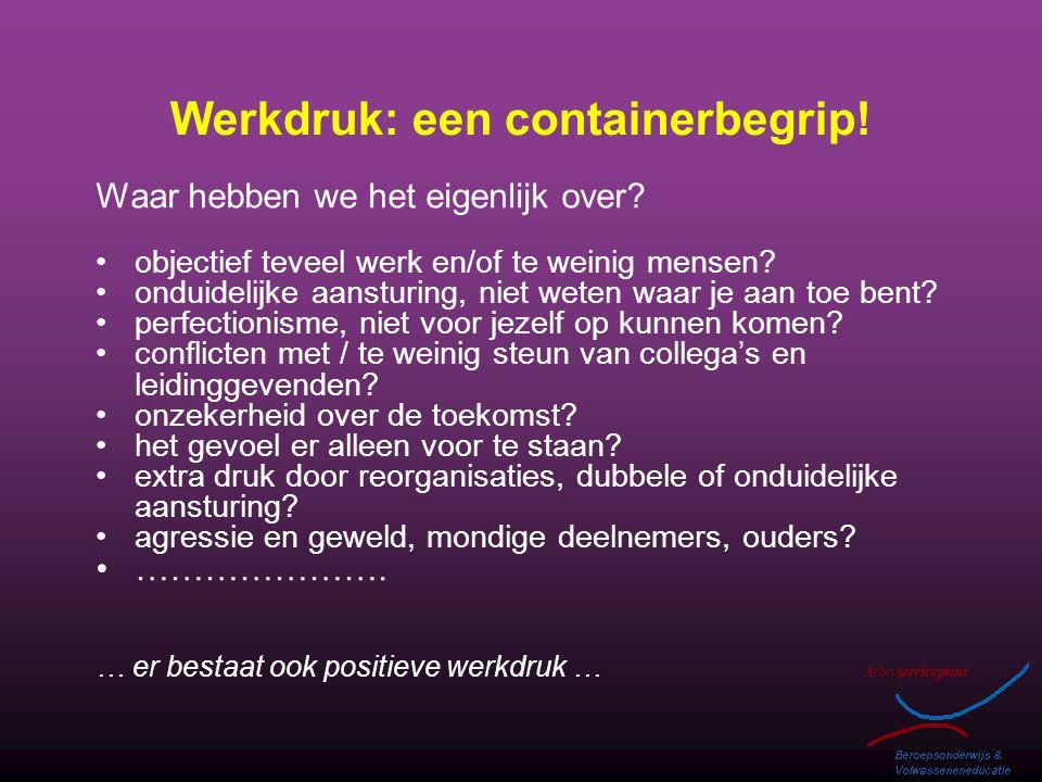 Werkdruk: een containerbegrip! Waar hebben we het eigenlijk over? objectief teveel werk en/of te weinig mensen? onduidelijke aansturing, niet weten wa