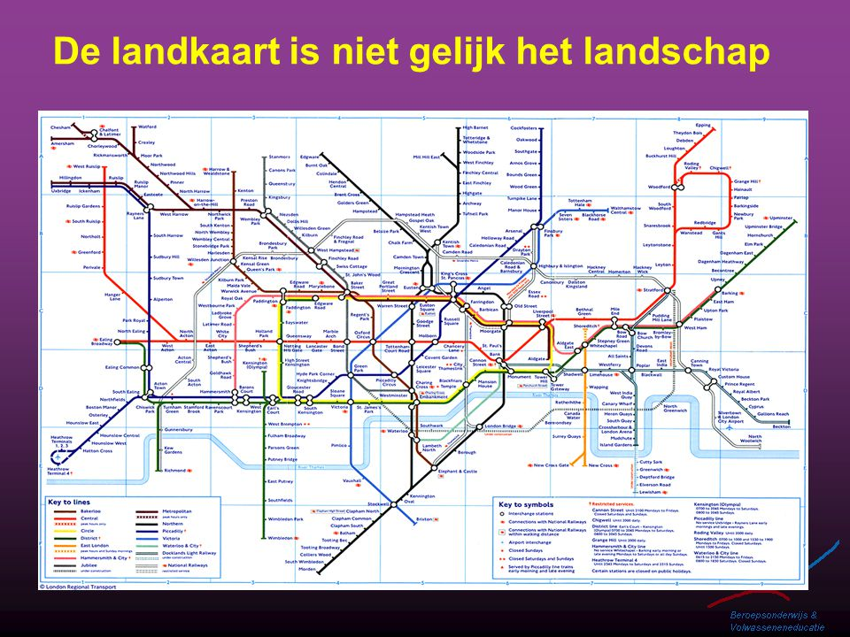De landkaart is niet gelijk het landschap
