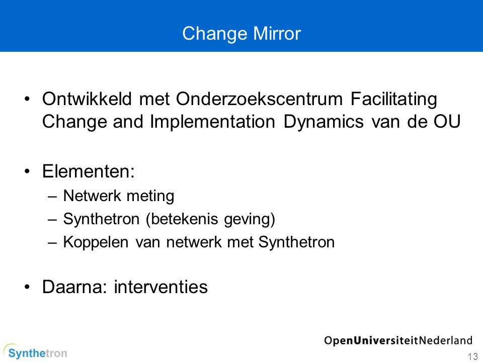 Change Mirror Ontwikkeld met Onderzoekscentrum Facilitating Change and Implementation Dynamics van de OU Elementen: –Netwerk meting –Synthetron (betekenis geving) –Koppelen van netwerk met Synthetron Daarna: interventies 13