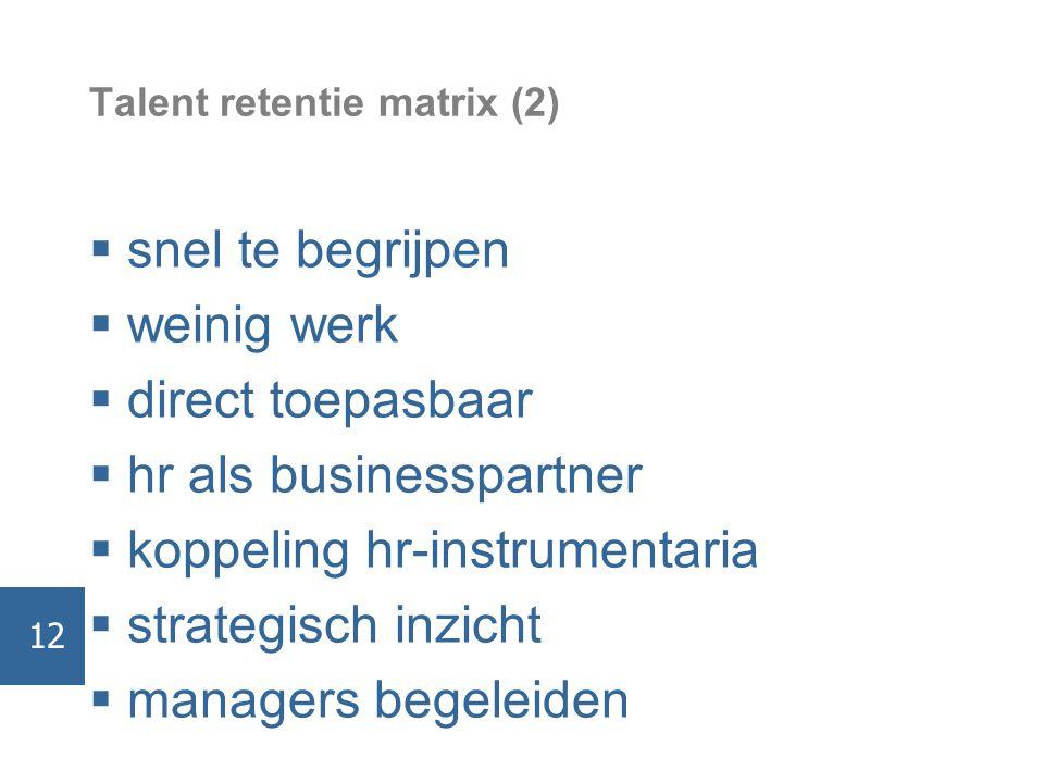Talent retentie matrix (2)  snel te begrijpen  weinig werk  direct toepasbaar  hr als businesspartner  koppeling hr-instrumentaria  strategisch