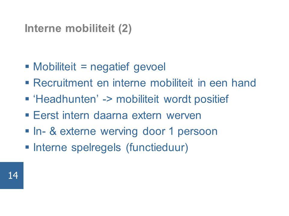 Interne mobiliteit (2)  Mobiliteit = negatief gevoel  Recruitment en interne mobiliteit in een hand  'Headhunten' -> mobiliteit wordt positief  Eerst intern daarna extern werven  In- & externe werving door 1 persoon  Interne spelregels (functieduur) 14