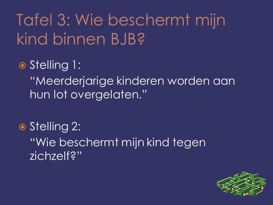 """Tafel 3: Wie beschermt mijn kind binnen BJB?  Stelling 1: """"Meerderjarige kinderen worden aan hun lot overgelaten.""""  Stelling 2: """"Wie beschermt mijn"""