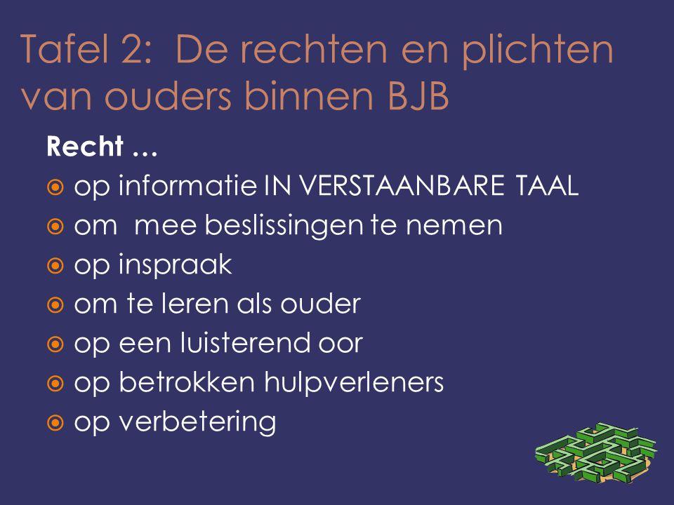 Tafel 2: De rechten en plichten van ouders binnen BJB Recht …  op informatie IN VERSTAANBARE TAAL  om mee beslissingen te nemen  op inspraak  om te leren als ouder  op een luisterend oor  op betrokken hulpverleners  op verbetering
