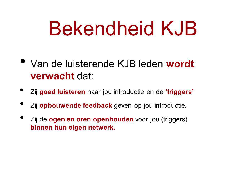 Van de luisterende KJB leden wordt verwacht dat: Zij goed luisteren naar jou introductie en de 'triggers' Zij opbouwende feedback geven op jou introductie.