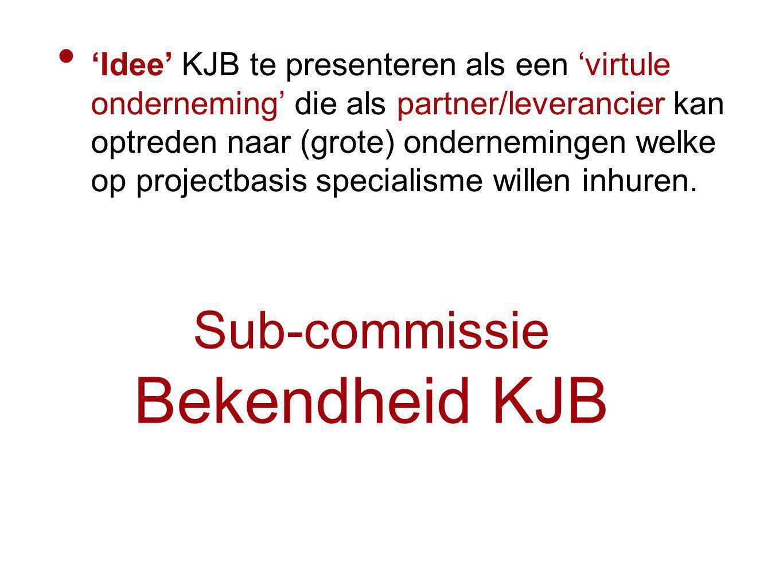 Sub-commissie Bekendheid KJB 'Idee' KJB te presenteren als een 'virtule onderneming' die als partner/leverancier kan optreden naar (grote) ondernemingen welke op projectbasis specialisme willen inhuren.
