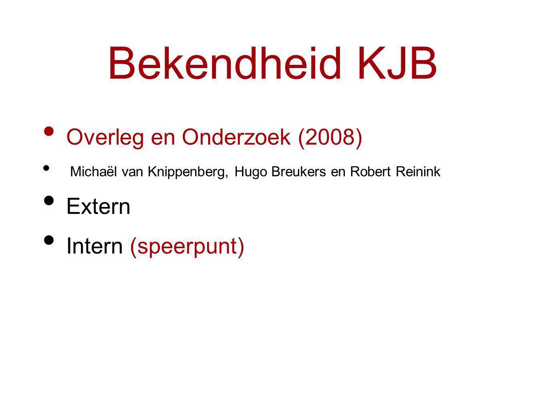 Bekendheid KJB Overleg en Onderzoek (2008) Michaël van Knippenberg, Hugo Breukers en Robert Reinink Extern Intern (speerpunt)
