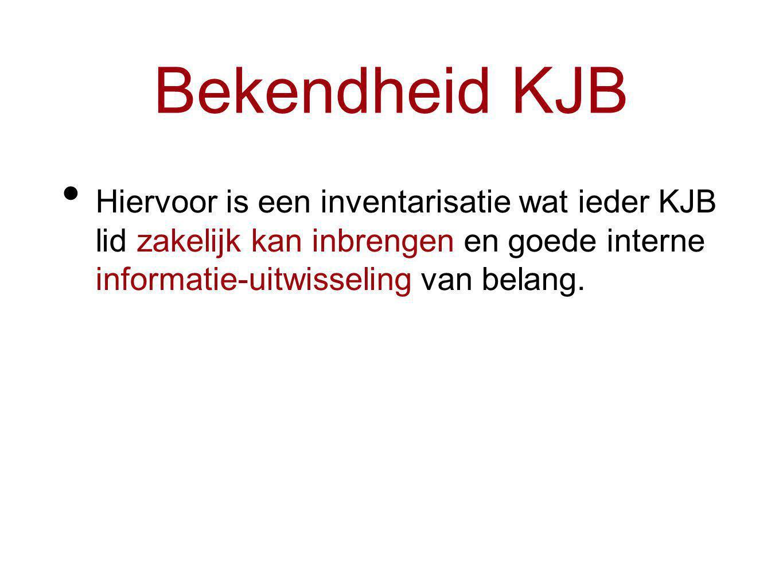 Bekendheid KJB Hiervoor is een inventarisatie wat ieder KJB lid zakelijk kan inbrengen en goede interne informatie-uitwisseling van belang.