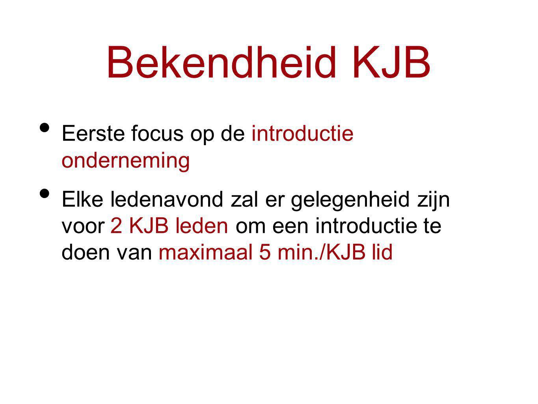 Bekendheid KJB Eerste focus op de introductie onderneming Elke ledenavond zal er gelegenheid zijn voor 2 KJB leden om een introductie te doen van maximaal 5 min./KJB lid
