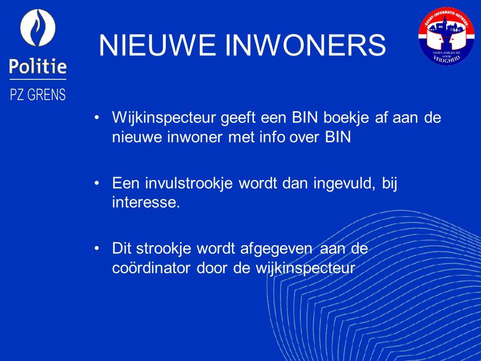 NIEUWE INWONERS Wijkinspecteur geeft een BIN boekje af aan de nieuwe inwoner met info over BIN Een invulstrookje wordt dan ingevuld, bij interesse.