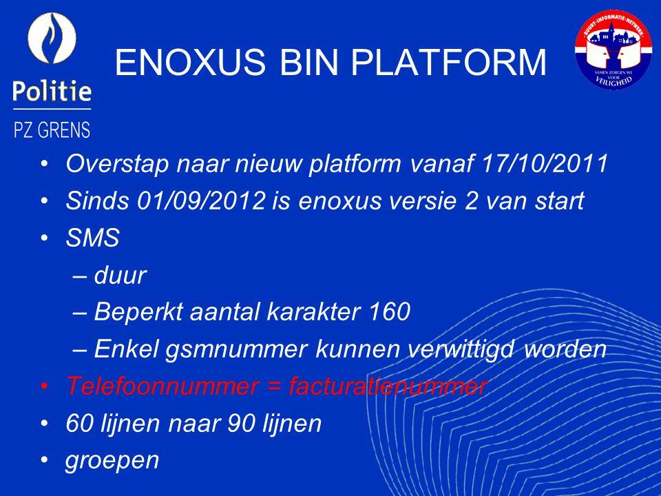 ENOXUS BIN PLATFORM Overstap naar nieuw platform vanaf 17/10/2011 Sinds 01/09/2012 is enoxus versie 2 van start SMS –duur –Beperkt aantal karakter 160 –Enkel gsmnummer kunnen verwittigd worden Telefoonnummer = facturatienummer 60 lijnen naar 90 lijnen groepen