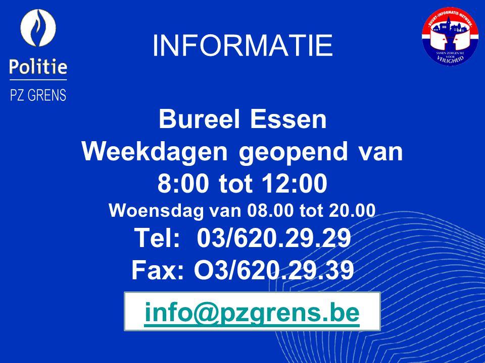 INFORMATIE Bureel Essen Weekdagen geopend van 8:00 tot 12:00 Woensdag van 08.00 tot 20.00 Tel: 03/620.29.29 Fax: O3/620.29.39 info@pzgrens.be