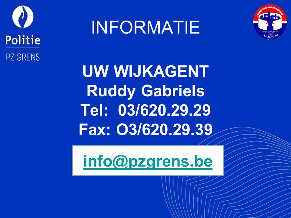 INFORMATIE UW WIJKAGENT Ruddy Gabriels Tel: 03/620.29.29 Fax: O3/620.29.39 info@pzgrens.be