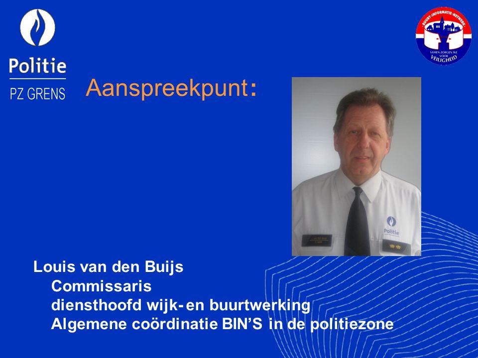 Aanspreekpunt : Louis van den Buijs Commissaris diensthoofd wijk- en buurtwerking Algemene coördinatie BIN'S in de politiezone