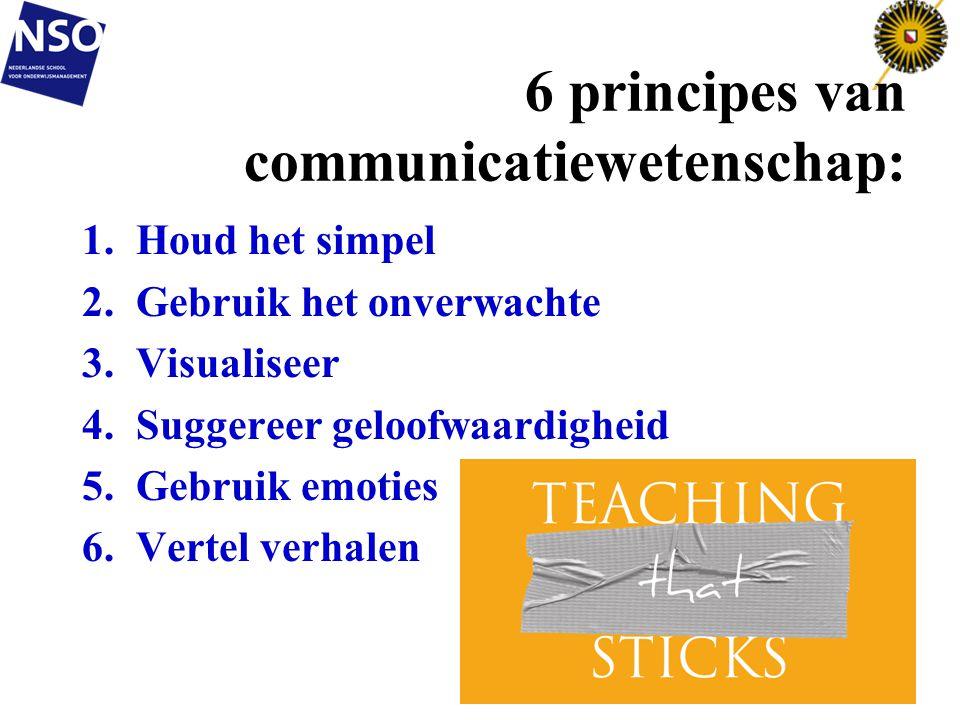 6 principes van communicatiewetenschap: 1.Houd het simpel 2.Gebruik het onverwachte 3.Visualiseer 4.Suggereer geloofwaardigheid 5.Gebruik emoties 6.Ve
