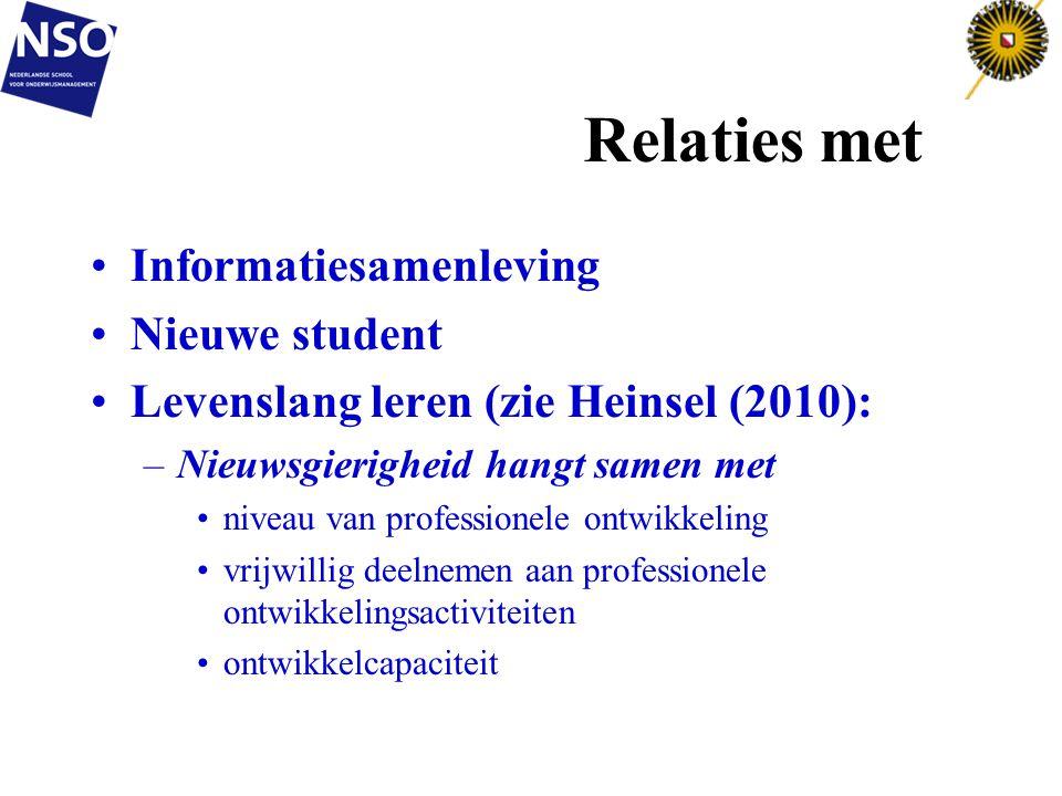 Relaties met Informatiesamenleving Nieuwe student Levenslang leren (zie Heinsel (2010): –Nieuwsgierigheid hangt samen met niveau van professionele ont