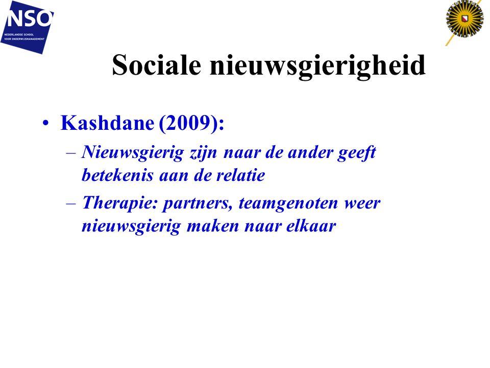 Sociale nieuwsgierigheid Kashdane (2009): –Nieuwsgierig zijn naar de ander geeft betekenis aan de relatie –Therapie: partners, teamgenoten weer nieuws