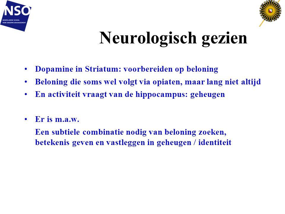 Neurologisch gezien Dopamine in Striatum: voorbereiden op beloning Beloning die soms wel volgt via opiaten, maar lang niet altijd En activiteit vraagt