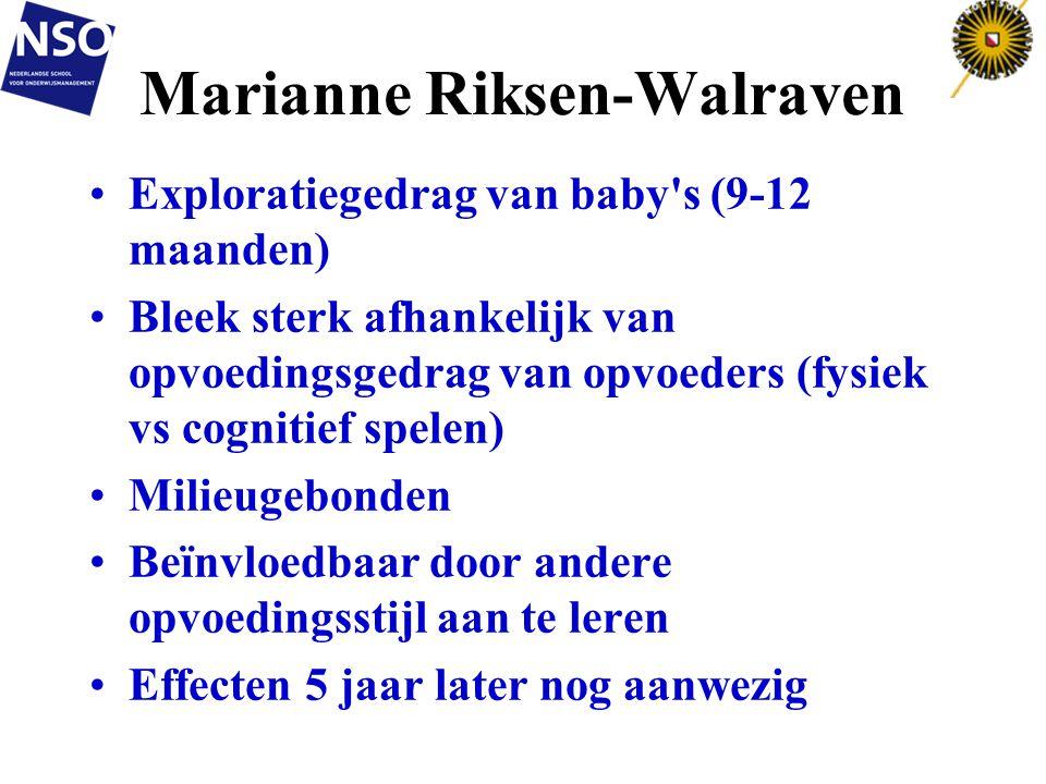Marianne Riksen-Walraven Exploratiegedrag van baby's (9-12 maanden) Bleek sterk afhankelijk van opvoedingsgedrag van opvoeders (fysiek vs cognitief sp