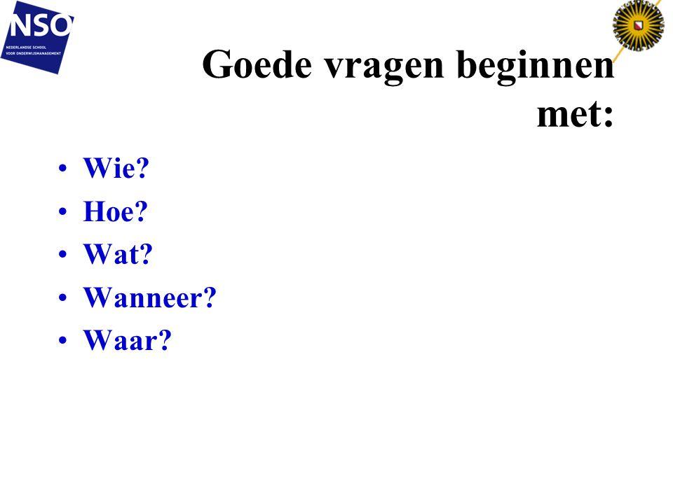 Goede vragen beginnen met: Wie? Hoe? Wat? Wanneer? Waar? 8-7-201463
