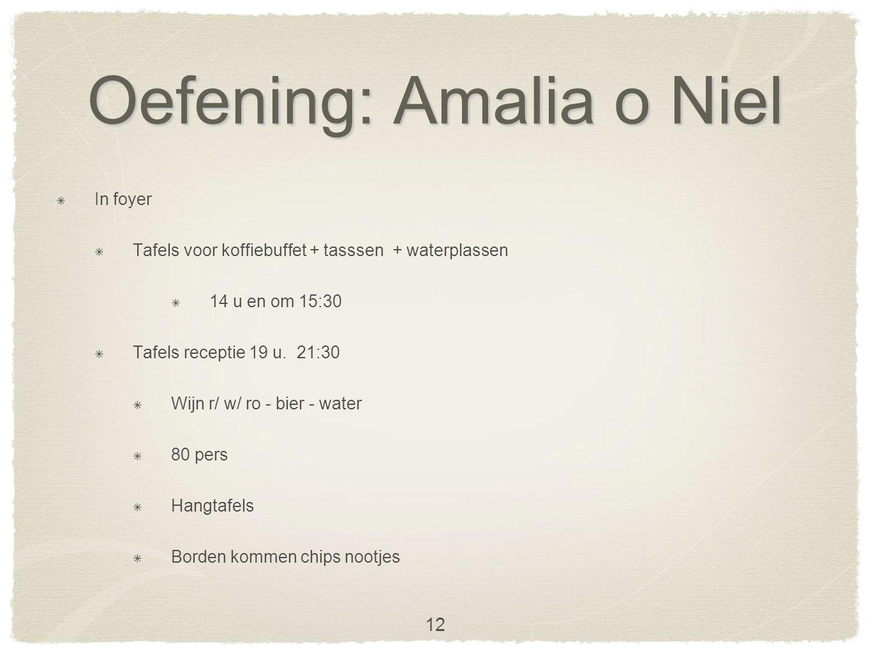 Oefening: Amalia o Niel In foyer Tafels voor koffiebuffet + tasssen + waterplassen 14 u en om 15:30 Tafels receptie 19 u.