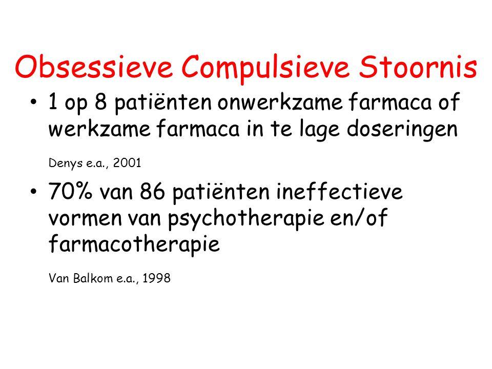 Obsessieve Compulsieve Stoornis 1 op 8 patiënten onwerkzame farmaca of werkzame farmaca in te lage doseringen Denys e.a., 2001 70% van 86 patiënten in