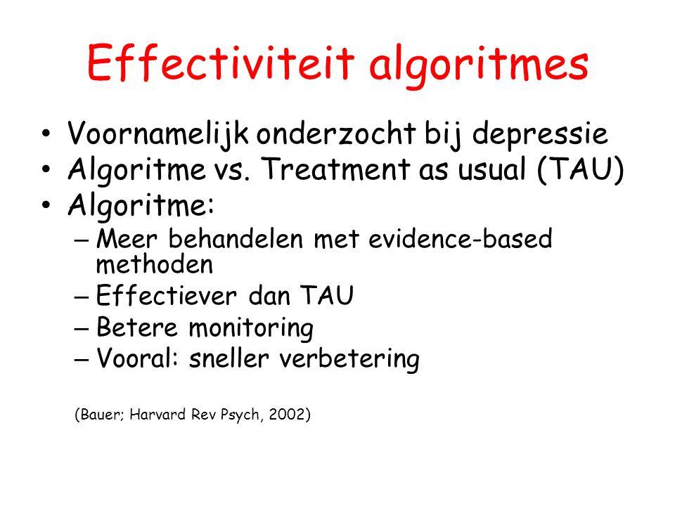 Effectiviteit algoritmes Voornamelijk onderzocht bij depressie Algoritme vs. Treatment as usual (TAU) Algoritme: – Meer behandelen met evidence-based