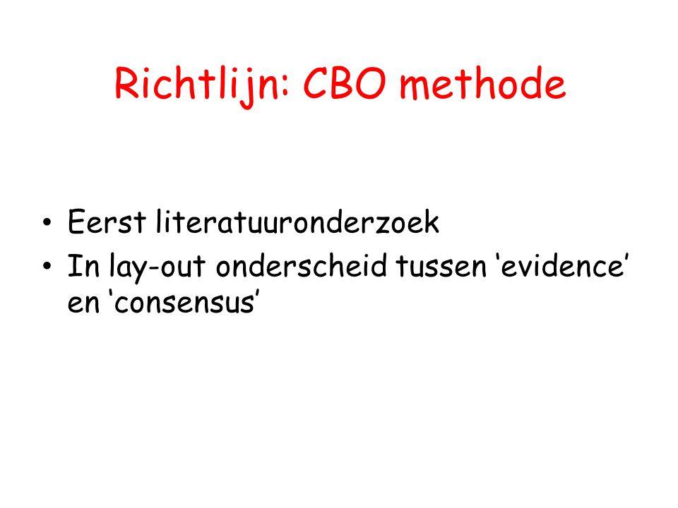Richtlijn: CBO methode Eerst literatuuronderzoek In lay-out onderscheid tussen 'evidence' en 'consensus'