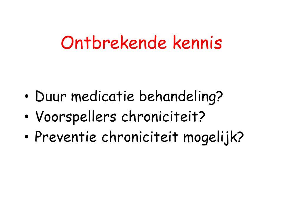 Ontbrekende kennis Duur medicatie behandeling? Voorspellers chroniciteit? Preventie chroniciteit mogelijk?