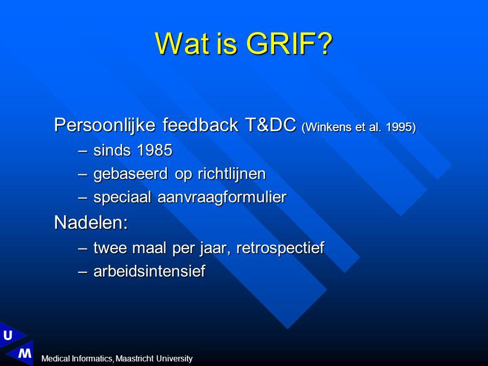 Medical Informatics, Maastricht University Persoonlijke feedback T&DC (Winkens et al.